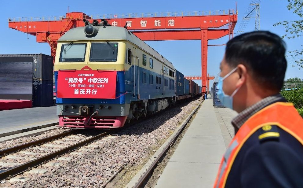1st China-Europe freight train bound for Germany from Shijiazhuang, Hebei departs
