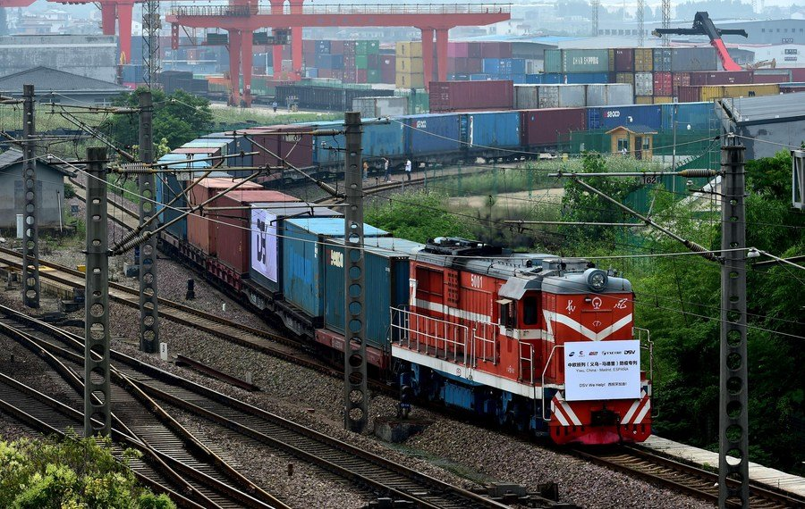 Foreign trade through China-Europe freight trains nearly quadruples in Yiwu