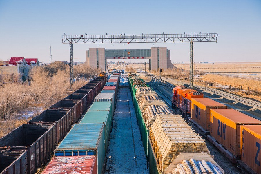 Strong growth in the business of China-Europe freight train service at Port of Erenhot