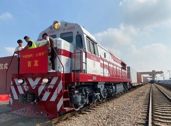 Today, Shanghai launched its first China-Europe freight train