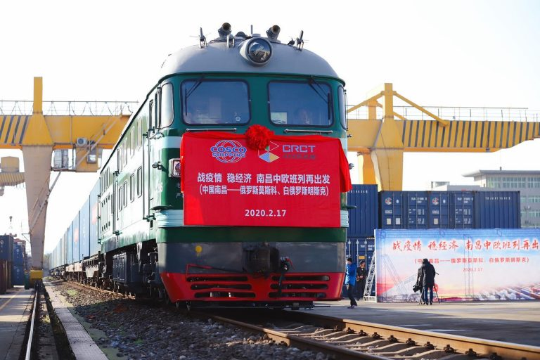 Moscow Freight train on new silk road