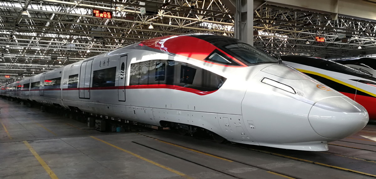 New generation high-speed cargo trains are rolled off the production line in China