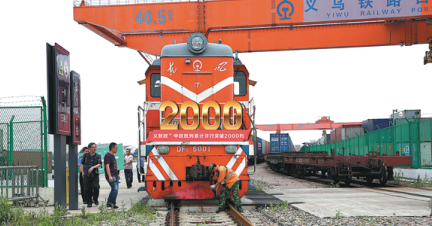 The number of freight trains from Yiwu, China to Europe surges